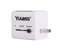 Wholesale Yulass Universal All in One Travel USB Plug Adapter Charger with Different Countries Plug Dual USB Port Built in Safety Shutters Folda