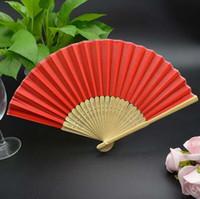 Wholesale red silk bamboo hand fan folding fans