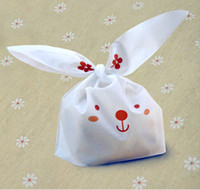 Wholesale 50pcs cute rabbit ear cookie bags Self adhesive Plastic Bags for Biscuits Snack Baking Package food bag