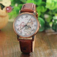 antique maps - Vine men s Watch Casual Leather Wrist Watches World Map Rome Digital Alloy Dial Antique Quartz Watch men montre homme relojes