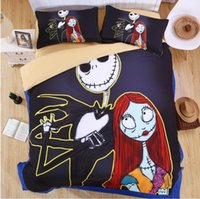 Cheap The Nightmare before Christmas 3D Printed Bedding Sets Cartoon Bedspread Twin Full Queen King Size Bed Duvet Covers Children's Bedroom Decor