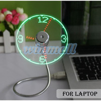 adjustable led desk - 2016 Adjustable Flexible Office Desk Gadget USB Mini Flexible Time LED Clock Fan with LED Light