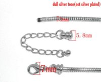 Wholesale Silver Tone Lobster Clasp Snake Chain Bracelets Fit European Charm cm For Kids Children sold per pack of Mr Jewelry