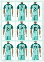 slim away - Customize Uniforms Kit European Cup Portugal Flgo Ronaldo Nanl Danny Soccer Jersey Light Green Blue Away Jerseys Shirt