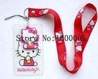 al por mayor insignia gatito-Nuevos 20pcs Hello Kitty ID Badge Holder, kawaii blando del cuello del logotipo Elementos de amarre llavero correa del teléfono móvil de la historieta encanta los chocolates