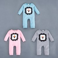 Wholesale 2016 baby Romper one piece newborn jumpsuits infant long sleeve lion kid clothes wear Spring Fall