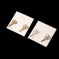 Wholesale Top Quantity Punk Gothic Gold And Silver Scissors Earring For Women Chic Punk Ear Stud Earrings