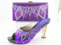 Wholesale Italian wedding shoes match bag set with hi Eight color more Italian shoes and packet size set matching shoes and bags of weeding