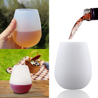 Wholesale Silicone Wine Glasses Foldable Beer Glasses Unbreakable Glasses Nonslip Stoup Flexible Food Grade Silicone Wine Cups Reusable Barware