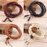 Cheap Wholesale-Vintage Natural Wood 6MM Beads Stretch Wooden Bracelet&Bangle Men handmade 108 Buddha Bracelets & Bangle Drop Shipping Wholesale