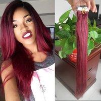 apply online - Online J Red Wine Brazilian Hair Human Tape Hair g Apply Tape Adhesive Skin Weft hair