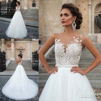 3d pictures - 2016 Cheap Vintage Lace Wedding Dresses Sheer Neck Lace Top Tulle Floor Length Bridal Gowns Custom Made Beach Wedding Gowns Cheap White Gown
