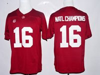 alabama champions - Alabama Crimson Tide Natl Champions Jersey College Red White Color Natl Champions Football Jerseys All Stitched Breathable High Quality