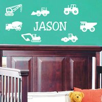 Wholesale Customs Made Name Wall Stickers Personalized Car Wall Decals Wallpaper for Kids Boys Bedroom Decor WS366