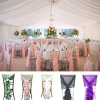 Wholesale 2016 New Chiffon Ruffle Chair Cover Hood Fancy Tail Set For Wedding Party Decorations L1