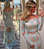 Wholesale Two Pieces Lace Evening Dresses Arabic Trumpet Off Shoulder Beauty Queen Prom Dress Custom Made Party Gown With Long Sleeves