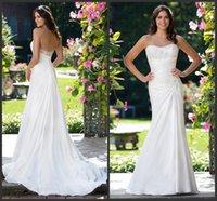 Cheap 2016 Sheath Beaded Stretch Satin Sweetheart Wedding Dresses Sleeveless Sincerity Asymmetrical Waistline Lace Ivory Bridal Gowns Court Train