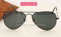Las gafas de sol clásicas del piloto de las mujeres superiores de los hombres de la marca de fábrica diseñan las lentes de cristal verdes cristalinas del negro del oro del diseñador 3 tamaño en caja original de la caja