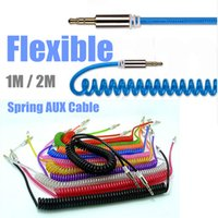 rca cable - 1M M lengthen Flexible Spring mm Male to Male AUX Auxiliary Stereo Audio Cable Adapter high quality
