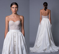 Cheap Modest 2017 Lihi Hod Taffeta Wedding Dresses with Pockets Sweetheart Backless Pearls Crystals Sexy Beach Boho Bridal Wedding Gowns Plus Size