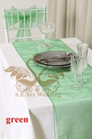 Wholesale 30pcs Cheap Price Green Color Organza Table Runner For Wedding Decoration Good Looking