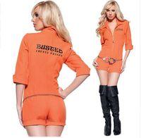 adult orange - Orange Escaped Prisoner Inmate Prisoner Jumpsuit Sexy Prison Jailbird Convict Halloween Costume Women Sexy Adult