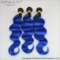 Cheap Grade 7a virgin hair Ombre Hair Weave 1b Blue color Body wave,remy Hair 3pcs lot Hot Beauty Hair Brazilian colorful hair