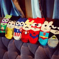 Wholesale 10Pairs Super hero cartoon socks cotton socks men tide