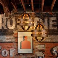 atom pendant - Vintage Atom Cyclopean Wine Barrel Pendant Lights Chandeliers Industrial Iron Round Nordic Art Pendant Lamps Bar Restaurant Light Fixtures