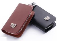bagged cadillac - SunShine Smooth Genuine Leather Car Key Chain Holder With Clip Wallet Case Pouch Hard Car Remote Key Holder Case Bag for Cadillac Brown
