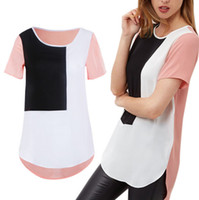Wholesale Women Summer Fashion Black White Irregular Stitching Casual Short Sleeve Long T shirt Brand New Good Quality