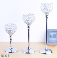 Wholesale chrome wedding handicraft home decoration holidays metal candleholders candlestick Crystal