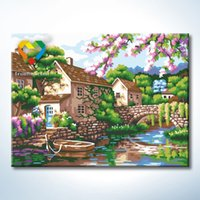 baby village - Sillent Village Wall Art DIY Painting Baby Toys x40cm Infant Canvas Oil Painting Drawing Wall Art for Home Decoration with SGS PONY CNAS