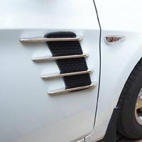 Wholesale New Car Hood Side Flow Vent Fender Air Net Door Decals Auto Sticker DIY Simulation car shark gills outlet soft ABS plated