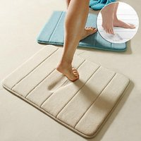 Wholesale Simple Design Memory Foam Bath Mat Soft Warm And Strong Anti slip Mat In The Bathroom Bedroom Stripes Mat Tapis De Bain cm