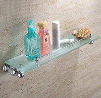 Wholesale Crystal Brass chrome plated glass shelf with built in crystal single tier wall shelf bathroom shelf GY012