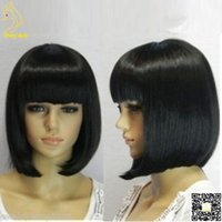 Wholesale Short Bob Lace Front Wigs Human Hair Brazilian Full Lace Human Hair Wigs With Bangs Straight Lace Wig For Black Women