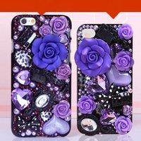 Precio de Iphone bling la rosa-IPhone de gran cristal iPhone 4,7 / 5,5 pulgadas teléfono Shell caso Bling diamante DIY 6/6 más Rhinestone piel de la cubierta protectora para 6S / 6S más púrpura / rosa