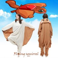adult squirrel costume - Hot Cute Animal Flying Squirrel Adult Fleece Onesies Kigurumi Animal Pajamas Cosplay Sleepwear Size S M L XL