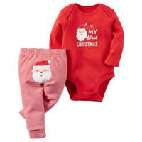 Санта костюмы Цены-2 Стили Детские Рождественские наборы младенца способа Рождество Санта Длинные ползунки рукавом + полосатые брюки 2 шт костюме Рождественский олень Новорожденный BodySuit Set