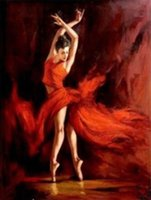 ballet oil paintings - High Quality genuine Hand Painted figure Portrait Art oil Painting On Canvas ballet in red in any sizes
