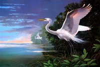 bay tech - Original US High tech HD Print Oil Painting Art On Canvas Les Didier White Egrets at Pelican Bay x36inch Unframed