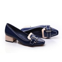 american footwear - New age season female thick leather shoes with square leisure belt buckle in the European and American fashion footwear Kaiselin Y515