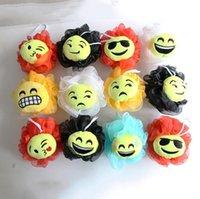 Wholesale 2016 Newest QQ Expression Emoji Smiley Bath Flower Bath Ball Sponge Bathing Spa Shower Scrubber Ball Colorful Bath Brushes Sponges