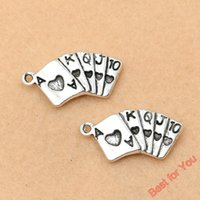 antique playing cards - 40pcs Antique Silver Tone Playing Card Porker Charms Pendants Fashion Jewelry DIY X12mm jewelry making
