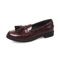 Wholesale PP Fashion Young ladies Women s Slip On Leather Tassels Flat Loafers shoes flats black and wine red sneaker