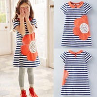 baby doll dresses - Girl classic striped dress Doll collar dress Flower appliqued skirt Baby kids one piece Sweet princess dress summer