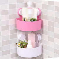 Wholesale High Quality Cute Bathroom Corner Storage Rack Organizer Shower Wall Shelf with Suction Cup ZJ