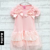 big lots outlet - 4pcs New arrive girls solid color lace sleeve dress big bow factory outlets