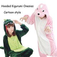 Wholesale 2 Style Warm Pajamas Anime Costume Adult Animal Dinosaur Onesie Cosplay Kigurumi Onesies Pajama Sets Halloween Gift K58L